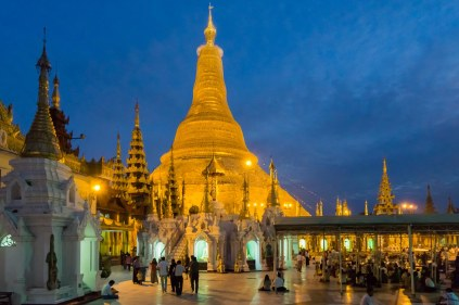 13. Shwedagon stupa after dark